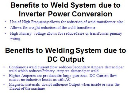 Benefits to Weld System due to Inverter Power Conversion